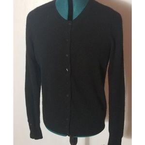 Black 2-Ply 100% Cashmere Cardigan, Large